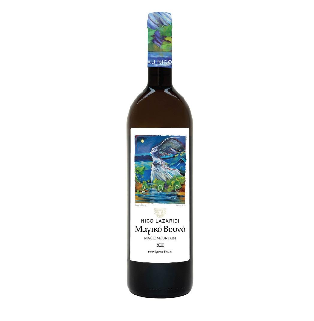 A bottle of Nico Lazaridi's MAGIC MOUNTAIN White 2020 wine