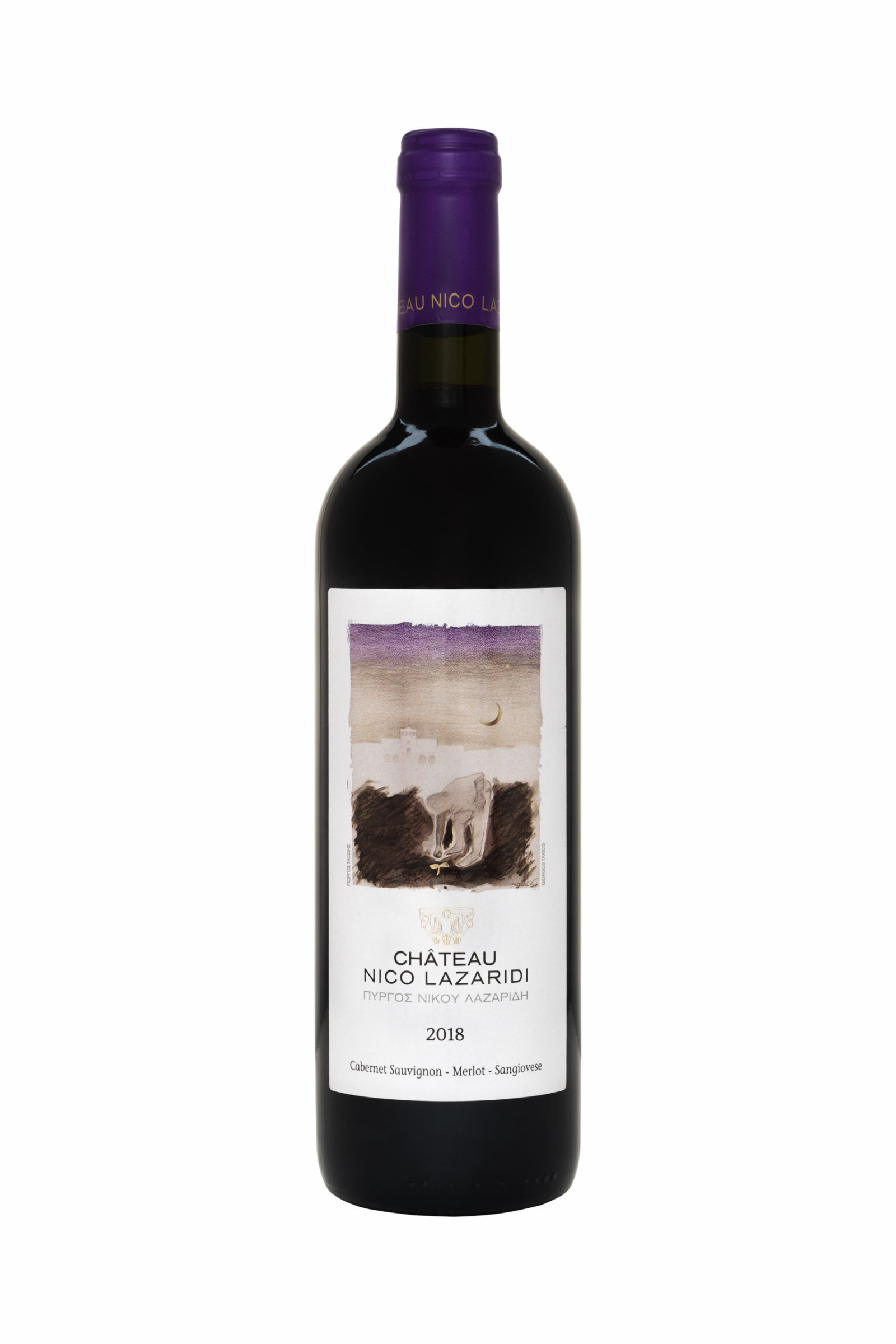 A bottle of Chateau Nico Lazaridi Red 2018