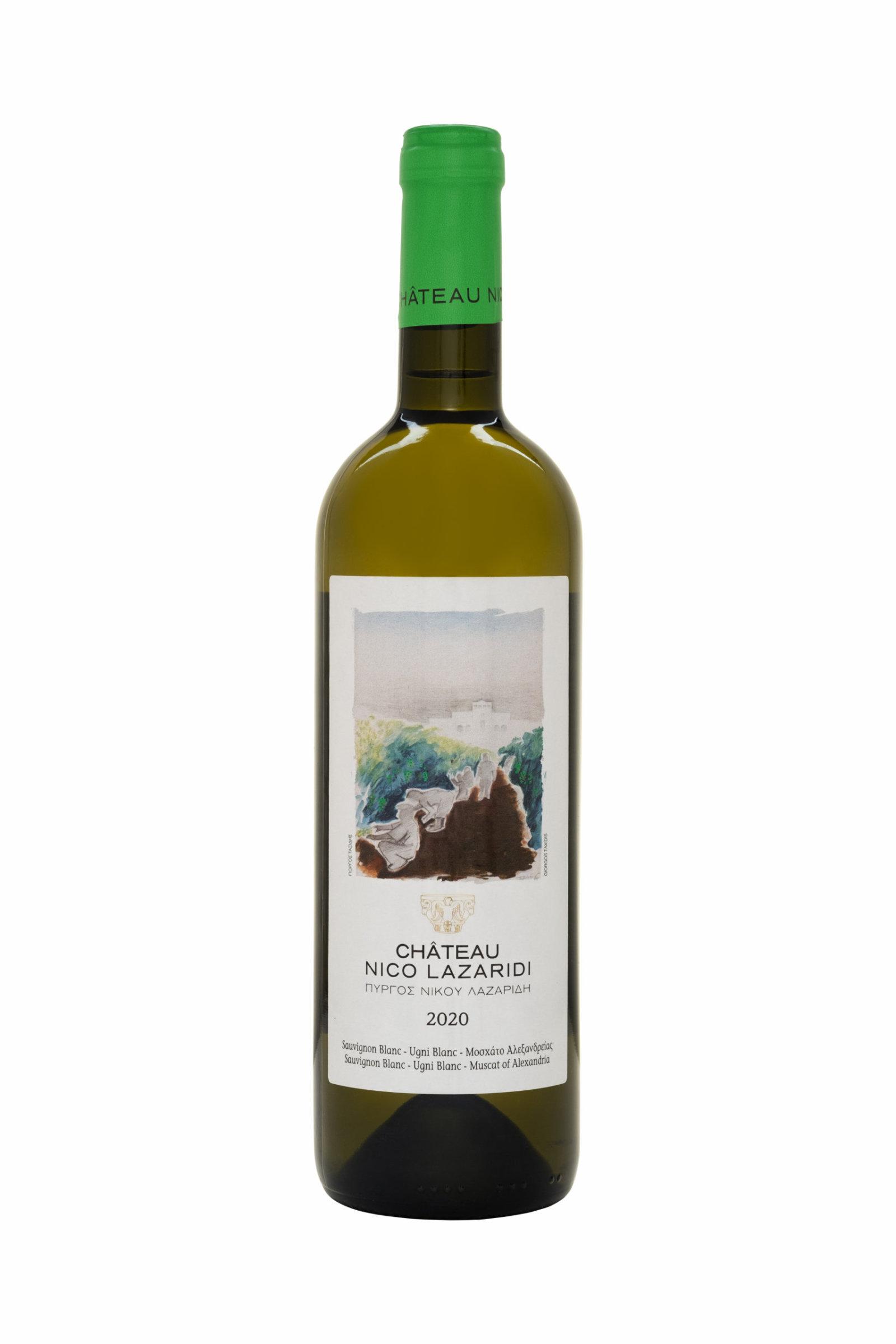 A bottle of Château Nico Lazaridi white wine 2020